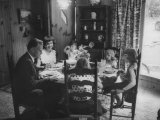 Billy Graham with His Four Children and Wife, Sitting Down for a Family Supper at Home Premium Photographic Print by Ed Clark