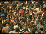 Overall of the Huge Crowd, During the Woodstock Music and Art Fair Premium-Fotodruck von John Dominis