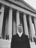 US Solicitor General J. Lee Rankin Standing on the Steps of Us Supreme Court Building Premium Photographic Print by Ed Clark