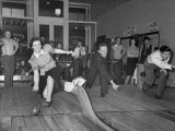 People Bowling at New Duckpin Alleys Premium Photographic Print by Bernard Hoffman
