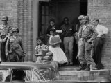 African American Students Being Escorted at School by Federal Troops Premium Photographic Print