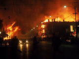 Streets Ablaze from Rioting Following Assassination of Martin Luther King Jr Premium Photographic Print