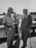 Ralston Purina Owner Donald Danforth Visiting with Ezra Taft Benson at Gray Summit Plant Premium Photographic Print by Ed Clark