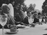 Vice President Richard M. Nixon Sitting at a Party with Russian Representative N. P. Tarasov Premium Photographic Print
