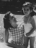 Ana Belen in Garden with Mother Carmen Ordonez Premium Photographic Print by Loomis Dean