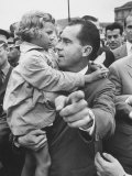 US Vice-President Richard M. Nixon Holding a Little Polish Girl Premium Photographic Print