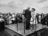 Upon Return Trip from European Tour; President Dwight D. Eisenhower W. Wife and Welcoming Committee Premium Photographic Print