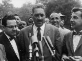 Naacp Lawyer Thurgood Marshall Speaking to the Press Premium Photographic Print by Ed Clark
