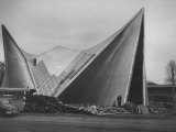 Netherlands Pavilion at Brussels Fair, Designed by Le Corbusier, Shown Being Built Premium Photographic Print