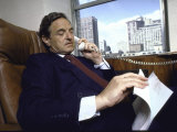 Investment Banker George Soros Working on Phone in Office Photographic Print