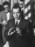 Richard M. Nixon at First Formal Press Conference in White House Premium Photographic Print by Ed Clark