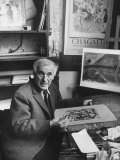 French Painter Marc Chagall Working on a Painting Premium Photographic Print by Loomis Dean