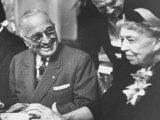 Former President Harry S. Truman Talking with Mrs. Franklin D. Roosevelt Premium Photographic Print