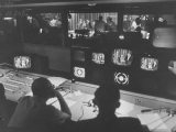 Men in the Control Room Watching the Ed Sullivan Television Show Premium Photographic Print by Ralph Morse