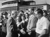 Pres. Dwight D. Eisenhower Greeting Crowds During Speaking Tour Premium Photographic Print by Ed Clark