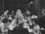 American Millionaire Paul Getty Eating Dinner with His Guests Premium Photographic Print