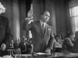 Gangster Mickey Cohen Testifying before Senate Racket Comm Premium Photographic Print by Ed Clark