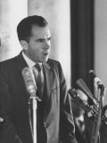 US Vice-President Richard M. Nixon Making a Speech During His Visit to Poland Premium Photographic Print