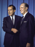 US President Richard M. Nixon with His Secretary of State William P. Rogers Premium Photographic Print