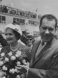 Richard M. Nixon with His Wife at their Arrival at Houston Int'L. Airport Premium Photographic Print