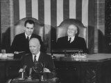 Richard M. Nixon, Sam Rayburn and Pres. Dwight D. Eisenhower During the Opening of Congress Premium Photographic Print by Ed Clark