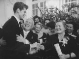Nikita S. Khrushchev and Wife Greeting Pianist Van Cliburn at Soviet Embassy Reception Premium Photographic Print by Ed Clark
