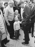 Robert F. Kennedy Meeting a Boy During Campaign Premium Photographic Print