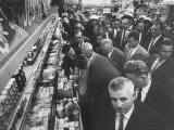 Nikita S. Khrushchev in Supermarket Premium Photographic Print by Carl Mydans