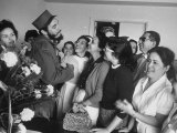 Rebel Leader Fidel Castro During Celebration of His Rebel Victory Premium Photographic Print
