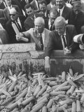Farmer Roswell Garst, W. Russian Nikita S. Khrushchev During His Visit at Garst's Farm Premium Photographic Print