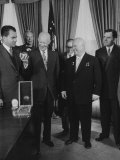Nikita S. Khrushchev Giving Pres. Dwight D. Eisenhower a Souvenir Premium Photographic Print by Carl Mydans