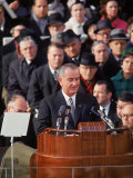 Pres. Lyndon Johnson Speaking at His Inauguration Premium Photographic Print