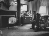 Lyndon B. Johnson Watching Television During the Democratic National Convention Premium Photographic Print