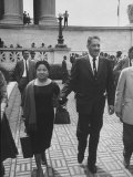 Thurgood Marshall Walking with His Wife Premium Photographic Print