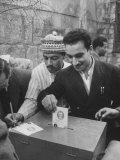 Men Participating in an Election Premium Photographic Print by James Whitmore