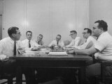 Attorney Milton R. Wessel Sitting with His Assistants at the Time of the Appalachin Gangsters Trial Premium Photographic Print