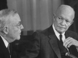 Pres. Dwight D. Eisenhower and John Foster Dulles Making Speech on Nato Conference Premium Photographic Print by Paul Schutzer