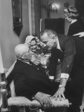House Speaker Sam Rayburn Talking with Senate Leader Lyndon Johnson During a Social Event Premium Photographic Print