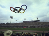 Balloons in the Shape of the Olympic Rings Being Released at the Summer Olympics Opening Ceremonies Premium Photographic Print by John Dominis