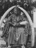 Yoruba Tribal Ruler in West Nigeria on Throne Surrounded by Elephant Tusks Premium Photographic Print