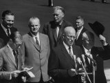 Nikita S. Khrushchev and Pres. Dwight D. Eisenhower Giving Speech During His Visit Premium Photographic Print by Ed Clark