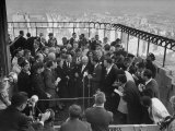 Nikita S. Khrushchev and Wife Meeting the Press on the Roof of the Empire State Building Premium Photographic Print