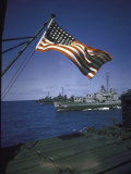American Flag Flying over Us Navy Ships at Sea Photographic Print