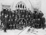 Workmen Involved in the Building of Tower Bridge Pose for a Group Portrait Premium Photographic Print