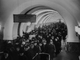 People Crowding Through Station in New Subway Premium Photographic Print by Ed Clark