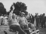 President Dwight D. Eisenhower and Louis St. Laurent Riding the Golf Cart across the Course Premium Photographic Print