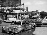 Aftermath of Detroit Race Riots, Gutted Buildings and Burned Cars Photographic Print