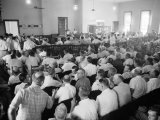 Overall of Courtroom During Trial of Two White Men for the Murder of Black Teenager Emmett Till Premium Photographic Print by Ed Clark