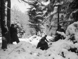 American Soldiers Crouched in Snowy Woods Near Amonines During the Battle of the Bulge Premium Photographic Print