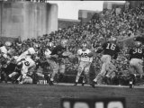 Navy Quaterback, George Welsh, Reaching Out to Complete Pass, During Army-Navy Game Premium Photographic Print by John Dominis